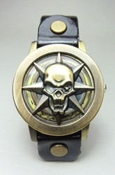 Skull & Compass Star Medallion on faux-leather Wristband China, Halloween, Cosplay, 2016|Color~antique brass, horror, halloween, movie
