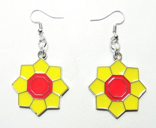Coreopsis Yellow Flower with Red Center alloy earrings China, Nature, Novelty Jewelry, 2016|Color~yellow|Color~red, educational