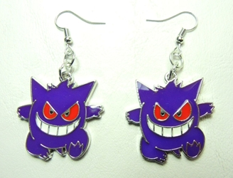Pokemon alloy earrings - Purple Gengar China, Pokemon, Novelty Jewelry, 2016|Color~purple, animated, game