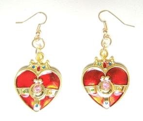 Sailor Moon Cosmic Heart Compact alloy earrings (gold/red) China, Sailor Moon, Novelty Jewelry, 2016|Color~red|Color~gold, anime