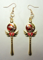 Sailor Moon Cutie Moon Rod alloy earrings (gold) China, Sailor Moon, Novelty Jewelry, 2016|Color~red|Color~gold, anime