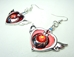 Sailor Moon Crisis Heart Compact alloy earrings (silver/red) - 9568-9524CCCFGF