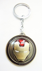 Iron Man Spinning Mask alloy keychain (brass) China, Iron Man, Keychains, 2016|Color~red|Color~brass, scifi, movie