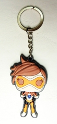 Overwatch soft plastic 2.5 inch keychain - Tracer China, Overwatch, Keychains, 2016|Color~brown|Color~orange|Color~fleshtone, superhero, video game