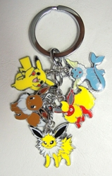 Pokemon alloy keychain with 5 pokemon charms (pikachu+) China, Pokemon, Keychains, 2016|Color~yellow|Color~brown|Color~blue, animated, game