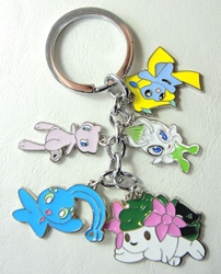 Pokemon alloy keychain with 5 pokemon charms (Mew+) China, Pokemon, Keychains, 2016|Color~lavender|Color~blue|Color~white|Color~green, animated, game