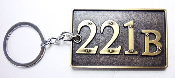 Sherlock 221B house number plaque alloy keychain China, Sherlock, Keychains, 2016|Color~bronze, crime, tv show