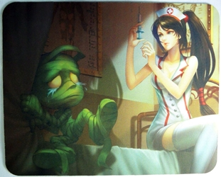 League of Legends Mouse Pad - Nurse Akali preparing injection for Amumu