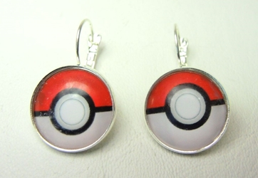 Pokemon Earrings - Red & White 3/4 inch Pokeballs (red/white) China, Pokemon Go, Novelty Jewelry, 2016|Color~red|Color~white, cute animals, video game