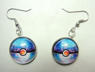 Pokemon Earrings - sparkly 3/4 inch Pokeballs (aqua/white) China, Pokemon Go, Novelty Jewelry, 2016|Color~aqua|Color~white, cute animals, video game