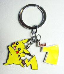 Pokemon metal alloy keychain - Pikachu running & his lightning Tail China, Pokemon, Keychains, 2016|Color~yellow, animated, game