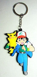 Pokemon soft plastic keychain - Running Ash with Pikachu on his shoulder China, Pokemon Go, Keychains, 2016|Color~red|Color~blue|Color~white|Color~yellow, cute animals, video game