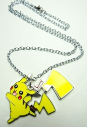 Pokemon metal alloy necklace with Pikachu & his lightning Tail China, Pokemon, Necklace, 2016|Color~yellow, animated, game
