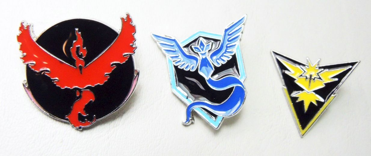 Pokemon Go Team Emblems - Set of 3 metal alloy pins China, Pokemon Go, Novelty Jewelry, 2016|Color~black, cute animals, video game
