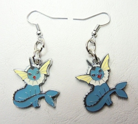Pokemon alloy earrings - Vaporeon China, Pokemon Go, Novelty Jewelry, 2016|Color~aqua|Color~white, cute animals, video game