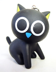 Black Cat PVC keychain - wide-eyed China, Black Cat, Keychains, 2016|Color~black, kidfare, japan