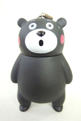 Black Bear Kumamon PVC keychain - standing China, Kumamon, Keychains, 2016|Color~black, cute animals