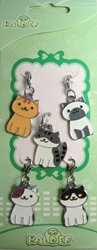 Neko Atsume - set of 5 alloy cat charms China, Neko Atsume, Keychains, 2017|Color~white|Color~grey|Color~tan, cute animals, video game