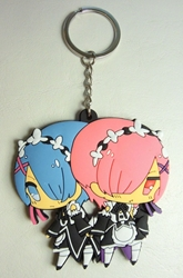 Re:Zero Starting Life in Another World - soft-plastic keychain - the twin maids Ram & Rem China, Re:Zero - Starting Life in Another World, Keychains, 2017|Color~fleshtone|Color~pink|Color~blue|Color~black, anime