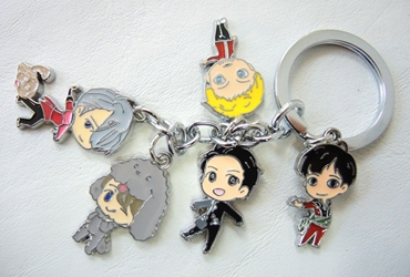 YURI on ICE alloy keychain - 5 character charms - Yuri & his friends China, YURI on ICE, Keychains, 2017|Color~fleshtone|Color~black|Color~grey, anime