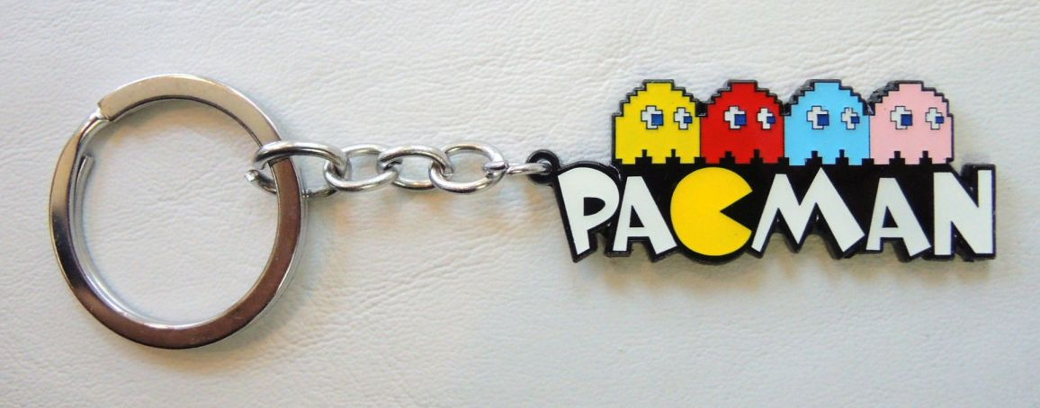 Pac-Man alloy keychain - the 4 ghosts: Blinky, Pinky, Inky, and Clyde. China, Pac-Man, Keychains, 2017|Color~white|Color~yellow|Color~red, cute animals, video game