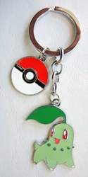 Pokemon Go metal alloy keychain - Chikorita and Pokeball China, Pokemon Go, Keychains, 2017|Color~green|Color~red|Color~white, cute animals, video game