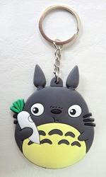 Totoro soft-plastic keychain - Totoro holding a white carrot China, My Neighbor Totoro, Keychains, 2017|Color~grey|Color~cream|Color~white, anime