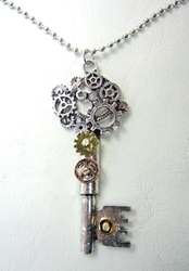 Steampunk alloy necklace - The Key to a Rational Mind China, Steampunk, Necklace, 2017|Color~Silver, scifi