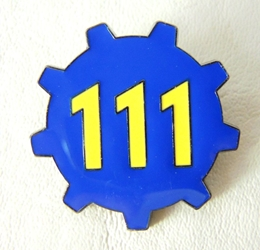 Fallout 4 Alloy pin - Vault 111 China, Fallout, Novelty Jewelry, 2017|Color~blue|Color~yellow, scifi, video game