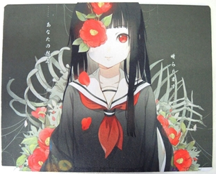 Hell Girl Anime Mouse Pad -  Ai Enma with bones & carnations China, Hell Girl, Mouse Pads, 2017, horror, halloween, japan