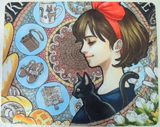 Kikis Delivery Service Anime Mouse Pad - Kiki & Jiji China, Kikis Delivery Service, Mouse Pads, 2017, anime, movie