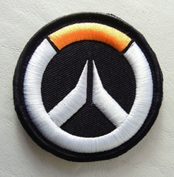 Overwatch embroidered velcro patch - Overwatch logo (black background) China, Overwatch, Cosplay, 2017|Color~black|Color~white|Color~orange, superhero, video game