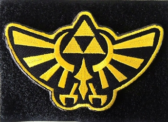 Zelda embroidered velcro patch - the Hylian Crest China, Zelda, Cosplay, 2017|Color~black|Color~gold, fantasy, video game