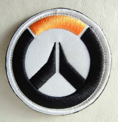 Overwatch embroidered velcro patch - Overwatch logo (white background) China, Overwatch, Cosplay, 2017|Color~black|Color~white|Color~orange, superhero, video game