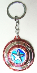 Captain America alloy keychain - Metallic shield with spinning Star China, Captain America, Keychains, 2017|Color~blue|Color~red|Color~chrome, superhero, movie