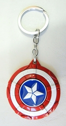 Captain America alloy keychain - Patriotic shield with spinning Star China, Captain America, Keychains, 2017|Color~blue|Color~red|Color~white, superhero, movie