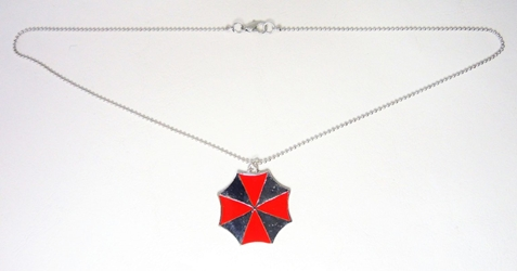 Resident Evil alloy pendant necklace - Umbrella Corp Logo (beaded chain) China, Resident Evil, Necklace, 2017|Color~red|Color~chrome, scifi, horror, video game
