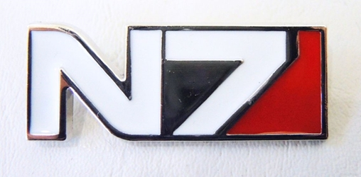 Mass Effect alloy pin - N7 Designation China, Mass Effect, Novelty Jewelry, 2017|Color~white|Color~red|Color~chrome