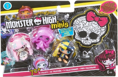 Mattel 2015 Monster High 1.5 inch Figures - Cleo de Nile Getting Ghostly Ari Hauntington and Rochelle Goyle Minis 3-Pack Mattel, Monster High, Dolls, 2015, teen, fashion, movie