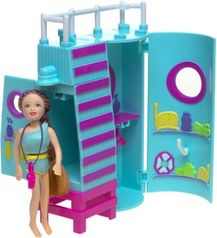 Mattel 2002 Polly Pocket 3.5  inch Dolls - Lifeguard Tower with Lea Mattel, Polly Pocket, Dolls, 2002, girls