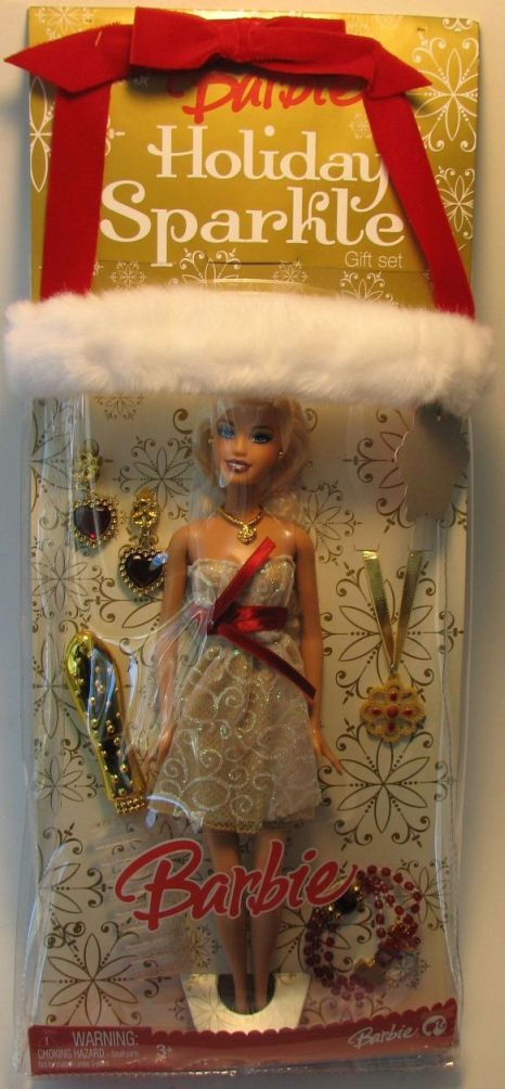 Barbie Holiday Sparkle Gift Set (in fur-trimmed bag) Mattel, Barbie, Dolls, 2008, fashion, toy
