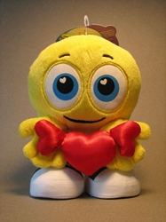 Cute SmileyCentral.com 7 inch plush Smiley - red heart