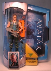 Avatar 6 inch figure - Col Miles Quaritch w Webcam iTag Mattel, Avatar, Action Figures, 2009, scifi, movie