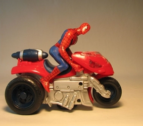 Spider-Man 2 Bump n Go Jet Cycle w fig LOOSE Toy Biz, Spider-Man, Action Figures, 2004, superhero, comic book