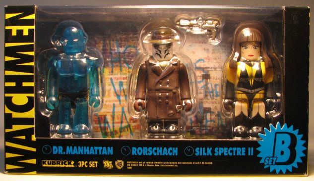 Medicom Kubrick Watchmen 3-pak Rorschach+SilkS+DrM Medicom, Watchmen, Action Figures, 2009, scifi, comic book