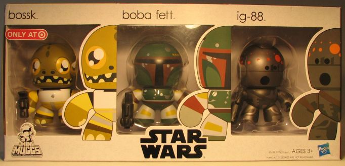 Mighty Muggs 3 inch Star Wars  Bossk +  Boba + ig-88 Hasbro, Star Wars, Action Figures, 2009, scifi, movie