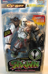 McFarlane Spawn 4  Cy-gor (white) CRUNCHED McFarlane, Spawn, Action Figures, 1996, superhero, comic book