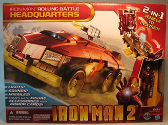 Iron Man 2 electronic Rolling Battle Headquarters w fig Hasbro, Iron Man, Action Figures, 2010, scifi, movie